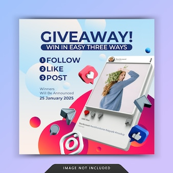 Social media post template with giveaway promotion for instagram