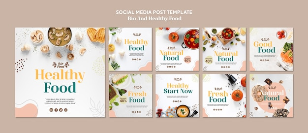 Social media post template with healthy food