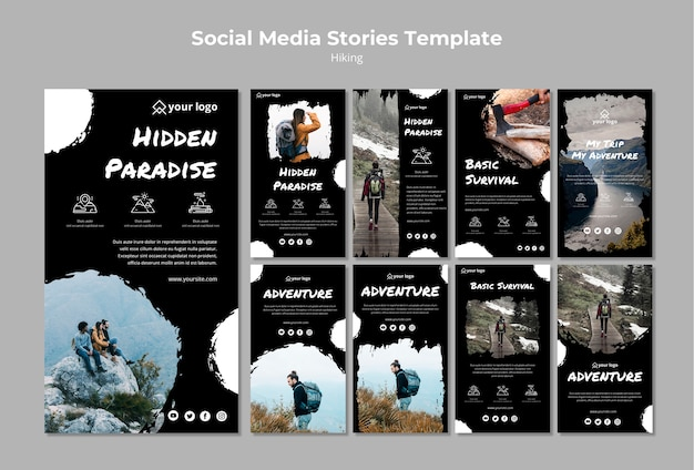 Social media post template with hiking concept