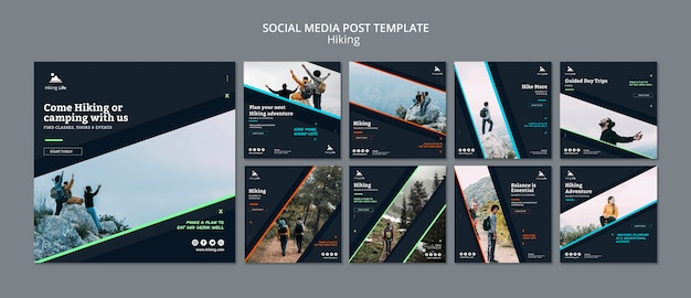 Social media post template with hiking theme