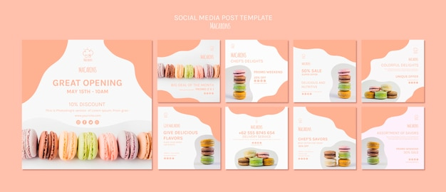 Social media post template with macarons