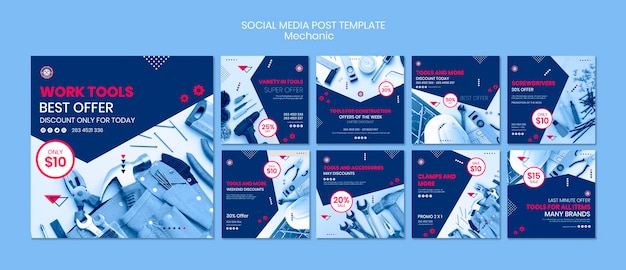 Social media post template with mechanic theme