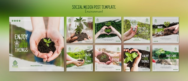 Social media post template with save the planet