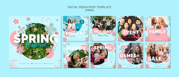 Social media post template with spring theme