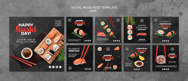 Social media post template with sushi day