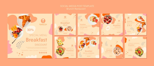 Social media post template with tasty food