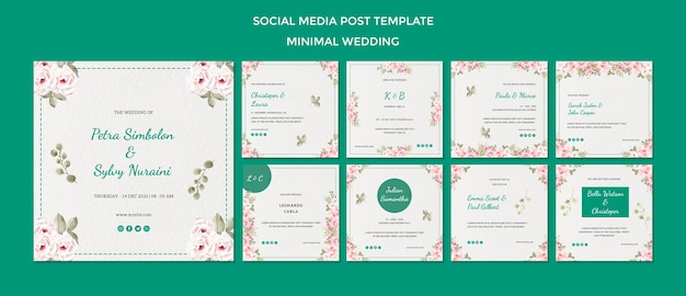 Social media post template with wedding