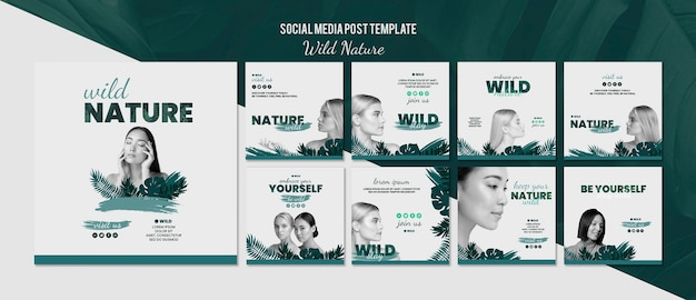 Social media post template with wild nature concept