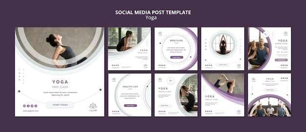 Social media post template with yoga