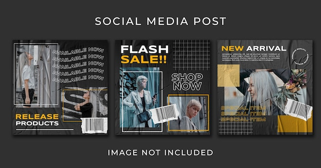 Social media post-urban street fashion template collection