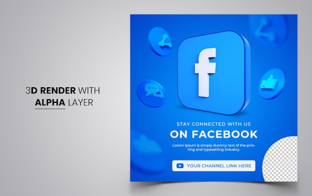 3d 모양이 있는 소셜 미디어 게시물