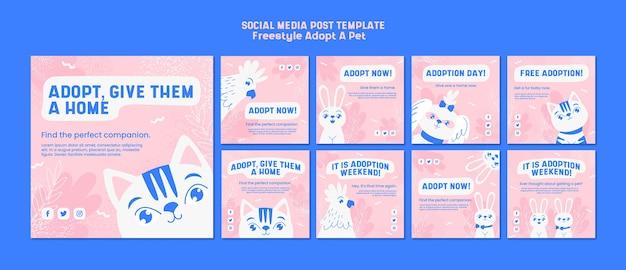 애완 동물 개념을 채택하는 소셜 미디어 게시물
