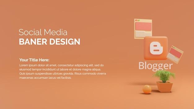 メッセージをテキストで表示したbloggerロゴの3dレンダリングを使用したソーシャルメディアの投稿
