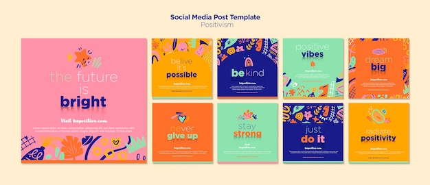 Social media post with positivism concept