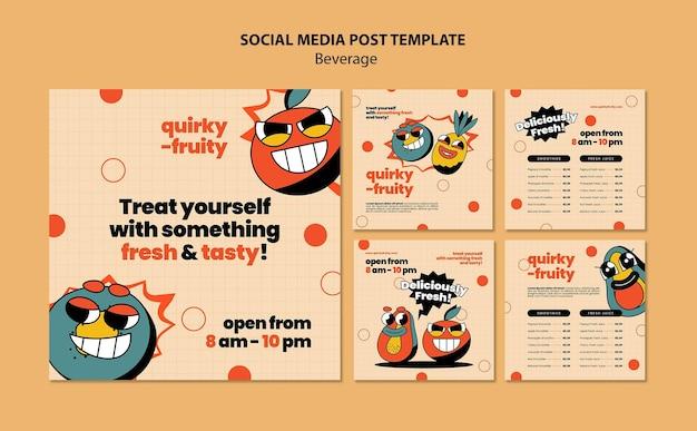 Шаблон дизайна персонажей напитков в социальных сетях