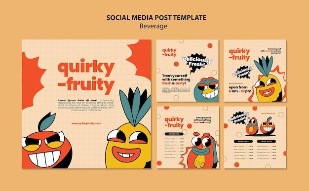 ソーシャルメディアは飲み物のキャラクターのデザインテンプレートを投稿します