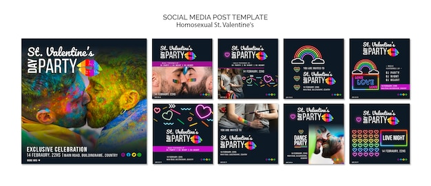 Social media posts for st. valentine's lgbt party with photo