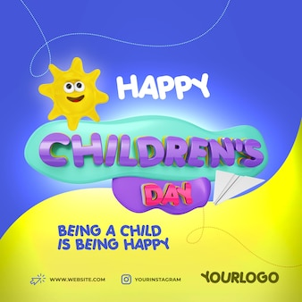 Social media psd template for childrens day 3d elements