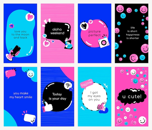 Social media quote template psd in blue and pink tone stye