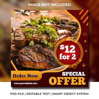 Social media restaurant barbecue template