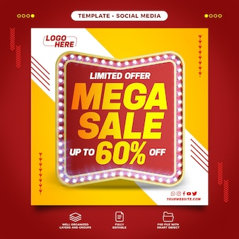 Social media retro with mega sale
