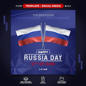 Social media russia day template