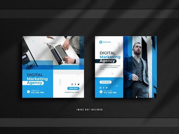 Баннер для продажи в социальных сетях для бизнеса цифрового маркетинга и минималистичный дизайн поста в instagram с роскошным макетом Premium Psd