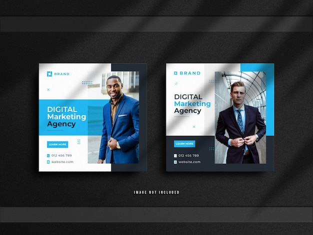 Баннер для продажи в социальных сетях для бизнеса цифрового маркетинга и минималистичный дизайн поста в instagram с роскошным макетом