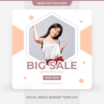 Social media sale offer discount square banner template feed