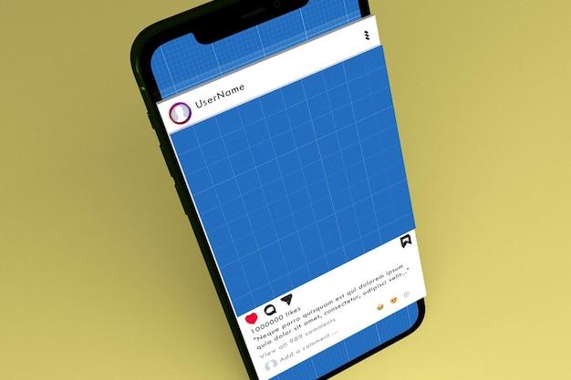 ソーシャルメディアとスマートフォンのモックアップ
