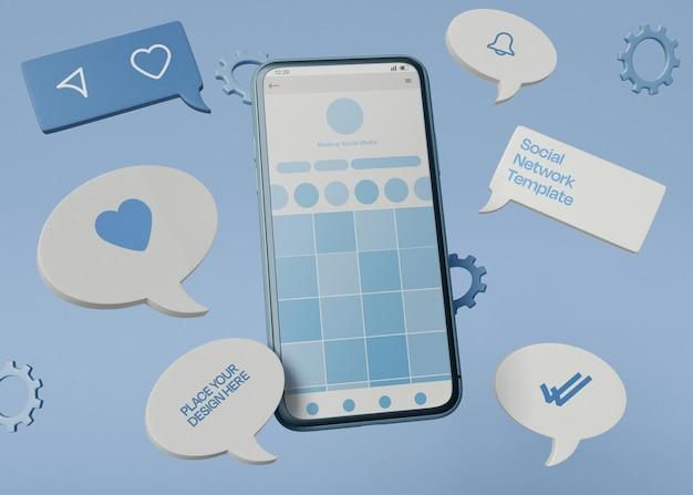 소셜 미디어 스마트폰 목업