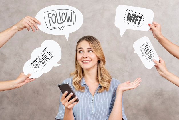 Social media speech bubbles surrounding a woman