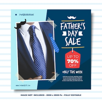 Social media square banner design template colourful style father's day sale