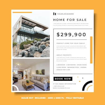 Social media square banner design template minimalist style house for sale