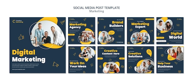 Шаблон сообщения в социальных сетях с концепцией цифрового маркетинга