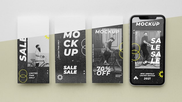 Истории из соцсетей и макет смартфона
