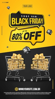 Social media stories black friday with up to 80 discount