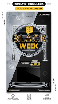 Social media stories black week with products on offer