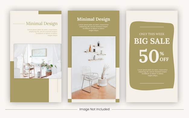 Social media stories furniture templates banner