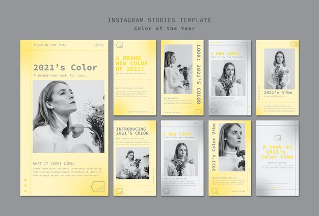 Social media stories set with color of the year