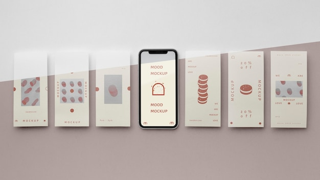 Social media stories and smartphone mock-up