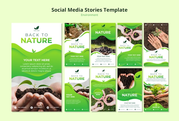 Social media stories template of nature