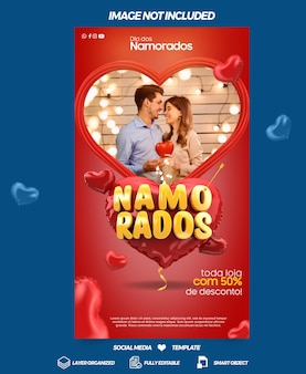 Social media stories valentines day in heart campaign in brazil