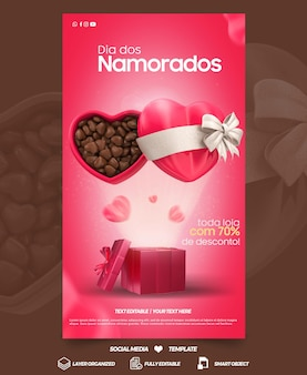 Social media stories valentines day with chocolate heart campaign in brazil