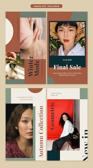 Social media story in geometric shape with classic color tone