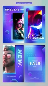Social media story in neon theme