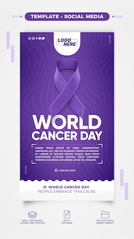 Social media story template for world cancer day