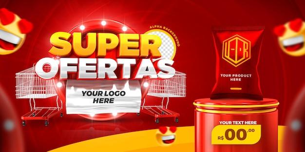 Social media super offer promotion banne template 3d render premium psd