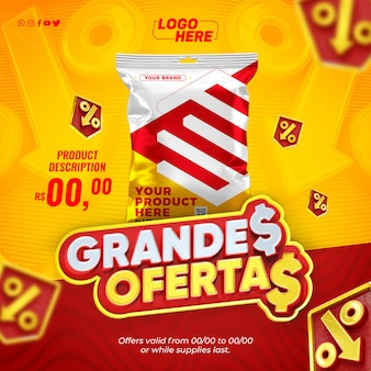 Social media supermarket super template offers products on offer in brazil