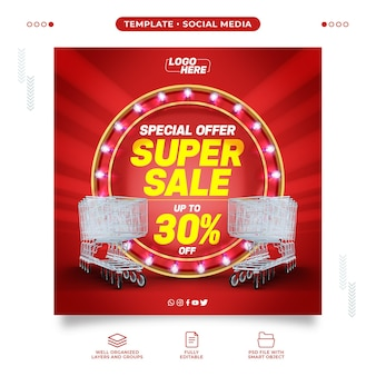 Social media supermarket with super sale up to 30% off